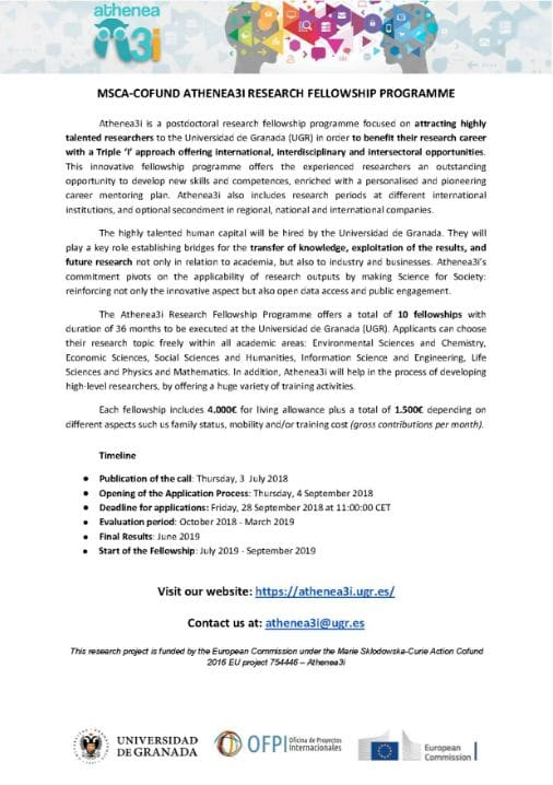 MSCA-COFUND Athenea3i Research Postdoctoral Fellowship for