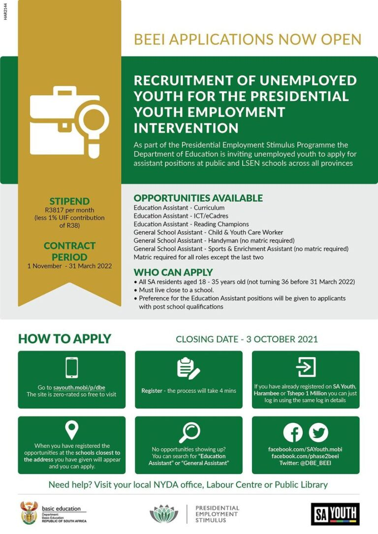 Deadline Extended: Applications for Phase II of 287,000 SA Youth Basic Education Employment Initiative (BEEI) for Unemployed Youth